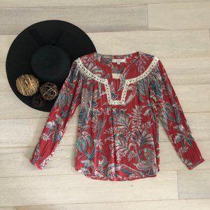 LOFT Ann Taylor Bohemian Floral Red Blouse XSP